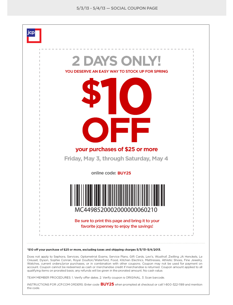 10.00 Off JCPenney Coupon Printable
