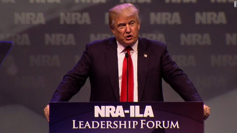 Donald Trump goes after Hillary Clinton on guns