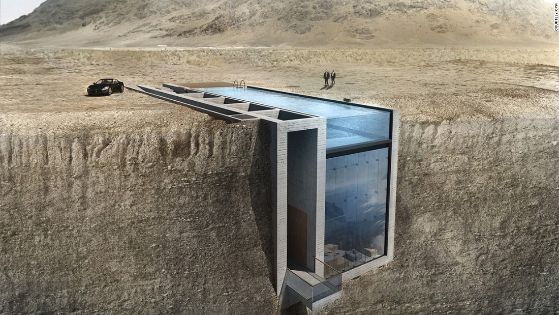 This home is being built into a cliff