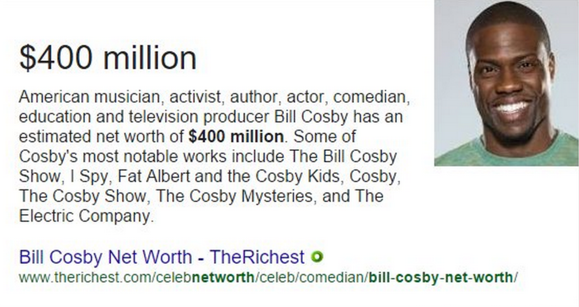 Google confuses Kevin Hart for Bill Cosby