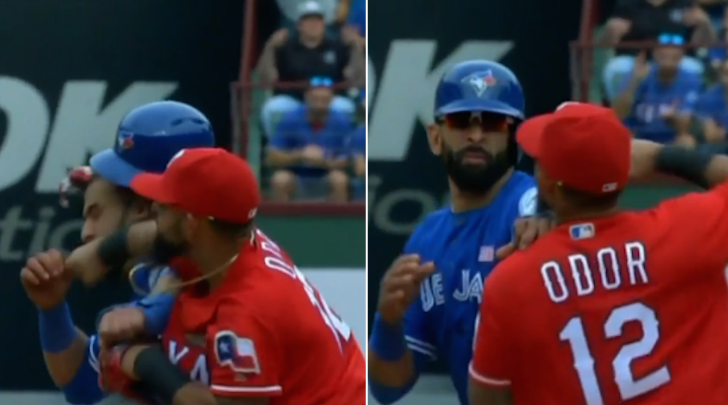 WATCH: Rangers & Blue Jays players throw punches during wild brawl